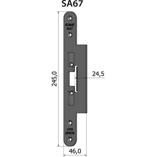Montagestolpe plan SA67, plösmått 24,5 mm, bl.a. för Schüco-profil S65 & ADS90