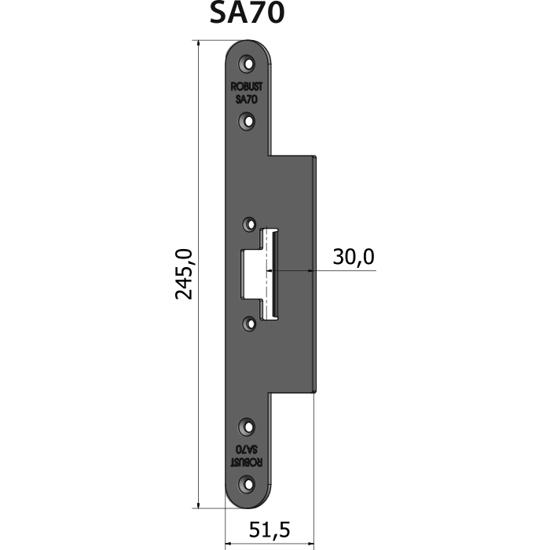 Montagestolpe plan SA70, plösmått 30 mm, bl.a. för SAPA-profil 2071