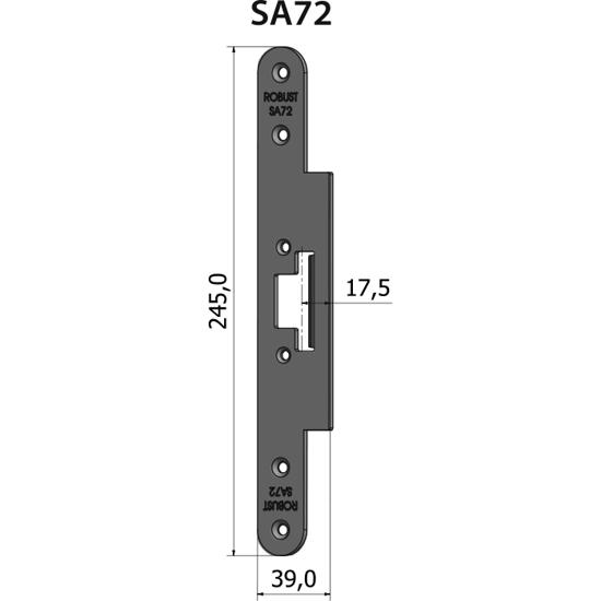 Montagestolpe plan SA72, plösmått 17,5 mm, bl.a. för Wicona-profil 77FP