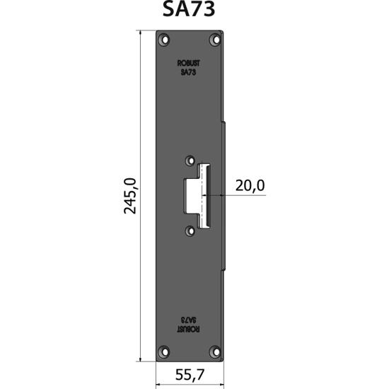 Montagestolpe plan SA73, plösmått 20 mm, bl.a. för SAPA-profil 2074