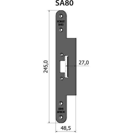 Montagestolpe plan SA80, plösmått 27 mm, bl.a. för Wicona-profil S80