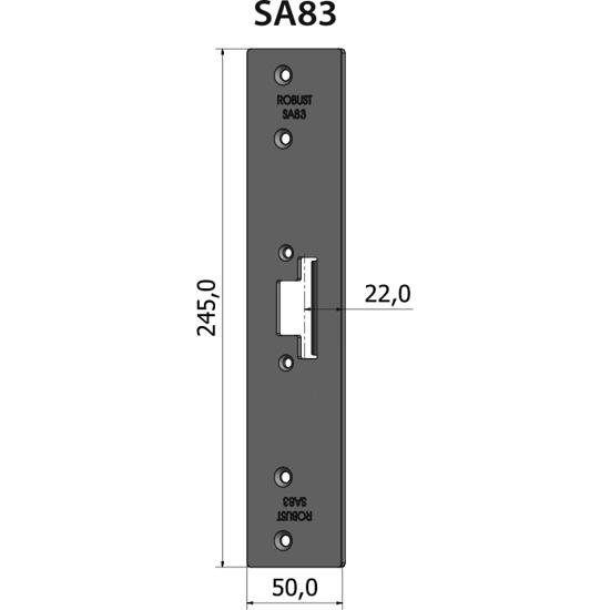 Montagestolpe plan SA83, plösmått 22 mm, bl.a. för Schüco-profil ADS 80 utåtgående dörr