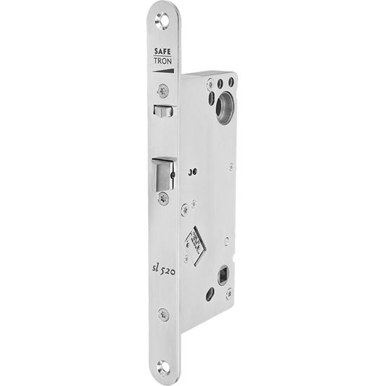 Eltryckeslås SL520 Rättvänd funktion med split höger 12-24 V AC/DC, Dorndjup 50 mm Safetron