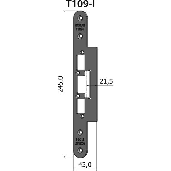 Montagestolpe plan T109-I, plösmått 21,5 mm, bl.a. för NIBA-profil inåtgående dörr
