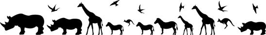 Kontrastmarkering glas Afrikanska djur